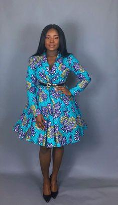 NEW IN:African clothingAfrican print wrap cowt dresshandmade Short African Dresses, Latest African Fashion Dresses, African Print Dresses, African Print Fashion, Latest Fashion, Trendy Ankara Styles, Ankara Dress, African Attire, Kitenge