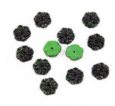 Green & Black Glass Floral Beads - Vintage 12 beads – Estatebeads