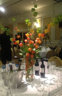 chinese lantern flower arrangement | table centre of physallis at the marriott Grosvenor Square London