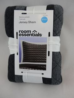 622f4aea2 NEW RE Room Essentials Jersey Pillow Sham Standard Black Gray Cotton Target