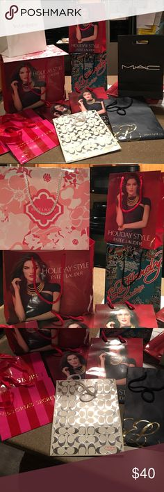 12 gift bags sold as a set 3 medium Estée Lauder holiday, 1 large Estée Lauder holiday, 1 spring Estée Lauder, 1 medium classic Estée Lauder, 1 MAC, 1 Yves Saint Laurent medium, 1 small Victoria's Secret, 1 medium Victoria's Secret, 1 Coach medium, 1 medium Ed Hardy. These have been in storage since my cosmetic days. Outsides are in good condition some of the bags have a bit of dust from being stored. The YSL bag has a small dirt  spot on the outside, nothing horrible. All still giftable or…