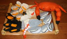 crevette et bulot en feutrine, shrimp in felt and seasnail in felt