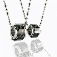 Fashion Sweetheart Black Ring Titanium Necklace Pendant