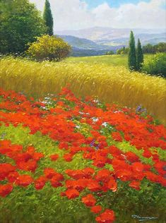 Gerhard Nesvadba - Poppies and Wheatfield (596x800)