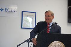 Senator Robert Menendez came to the ECLC's PRIDE Center in Paramus Monday to announce the AGE-IN Act legislation. Credit: Alana Quartuccio/Patch