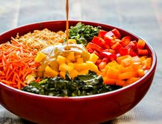 superfood thai salad with a delicious coconut-curry dressing