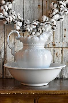 Antique White Ironstone Wash Basin and Large Pitcher by Alfred