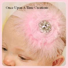 Pink Feather Shabby Flower Newborn Headband - Baby Girl Hair Bow - Hairbow