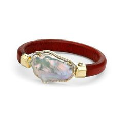 Pamela Huizenga jewelry baroque pearl bracelet in gold and red leather.
