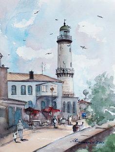 Warnemünde, Leuchtturm, Baltic sea, Ostsee. Original handmade aquarelle von abramarin auf Etsy Lighthouse Painting, Baltic Sea, Lighthouses, Watercolor, Tattoo, Drawings, Etsy, Sketches, Watercolour