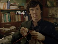 Sherlock knitting?!?! British actor Benedict Cumberbatch