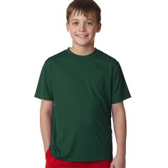 Hanes Cool Dri Youth Boys' Deep Forest Polyester T-Shirt by Hanes
