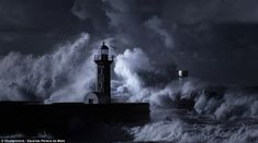 When bad weather makes it to shore, waves of shocking magnitude can threaten to engulf landmarks like this, the Farol Molhe do Douro lighthouse in Porto, Portugal