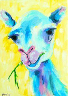 """""""Blue Baby Camel"""" Amira Rahim #nursery #camel #llama #animalart #colorfulanimal"""