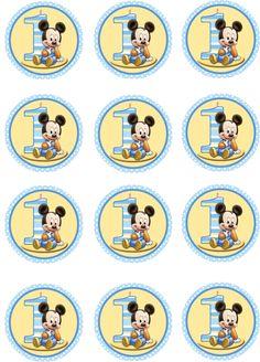 Baby Boy Mickey Mouse Edible Cupcake Toppers by ShoreCakeSupply Baby Mickey Cake, Festa Mickey Baby, Theme Mickey, Mickey Mouse Cupcakes, Mickey Party, Mouse Cake, Mickey 1st Birthdays, Boys 1st Birthday Party Ideas, Mickey Mouse 1st Birthday