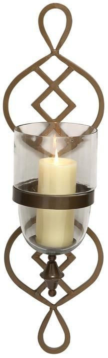 "Bayden Hill Metal Glass Candle Sconce 8""W, 27""H"