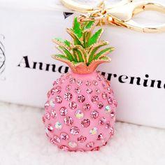 Fashion Resin Pineapple Inlay Crystal Rhinestone Pendant Keychain Metal Key ring Women Bag Charm Jewelry porte clef 2016