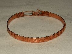 I made this bracelet from 20 g square copper wire and 22 g half round wire. It has a hook closure. This bracelet is on the small side. Wire Bracelets, Copper Bracelet, Bangles, Copper Wire, Wire Wrapping, Snug, Jewlery, Pictures, Gold