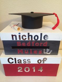 Custom Two Tiered Square Silver White and Red Graduation Card Box by BCBoxes on Etsy, $45.00