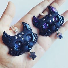Long time no see 😄 Hope you guys are great ❤️ Going to make little shop update tomorrow with these star ⭐️ cats 😊 Will be soon back with more creations 😉💕💕💕 Witch Jewelry, Clay Jewelry, Jewlery, 3d Fantasy, Fantasy Landscape, Clay Art, Resin Art, Emma Style, Cat Necklace
