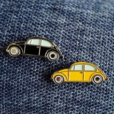 No matter what you call it, this VW beetle pin is a hit. In our family, we call it the beach bug , as my sister and have spent hours cruising up and down Grand Hav Jacket Pins, Yellow Car, Cool Pins, Pin And Patches, Metal Pins, Pin Badges, Lapel Pins, Pin Collection, Car Accessories