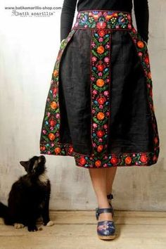with Mexican floral embroidery it's such a unique & folkloric skirt inspired by traditional costume in Transylvania , with bold and beautiful mexican embroidery folk art style on black linen<br> Mexican Embroidery, Folk Embroidery, Embroidery Fashion, Vintage Embroidery, Embroidery Dress, Floral Embroidery, Embroidered Dresses, Mexican Fashion, Folk Fashion