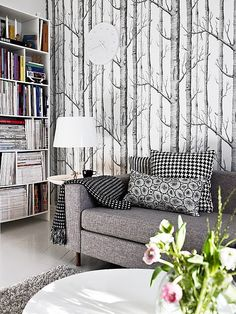 Birch in the living room by Stadshem