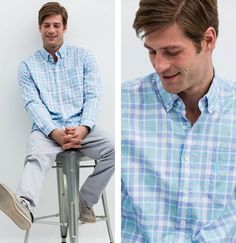THE AUBURN The ultimate plaid shirt for Spring, the Auburn goes well with jeans and khakis and can be dressed up or down. We love it with the Sheffield Pant with sleeves rolled. #theauburn #jeans #khakis #dressdown #dressup #sheffirldpant #sleevesrolled #johnnieo #westcoastprep