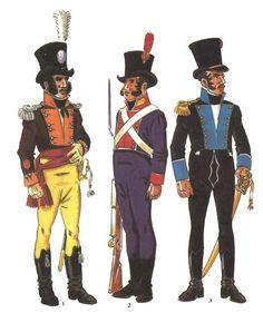 Spain, Cadiz Volunteer Units- L to R Lieutenant of the Distinguished Volunteers of Cadiz Fusilier of City Militia of Cadiz & Officer, Volunteers of the Isla de Leon 1810 Empire, Parade Rest, Army Uniform, Military Uniforms, Independence War, French Revolution, Cadiz, Napoleonic Wars, Portugal