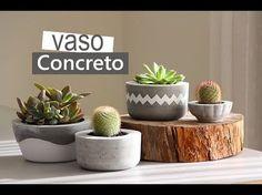 Vaso de concreto, uma super tendência que você pode fazer aí na sua casa e o melhor gastando bem pouco. Com dois baldes de plásticos e cimento!!! Link do vas...