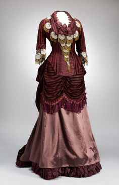 Beaded Applique Bustle Dress, ca. 1875