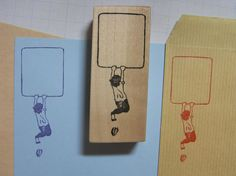 Stamp frame for envelope (a boy and his shoe dropping) - stamp on the envelope and place stamp on it - by Japanese illustrator Medusa