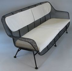View this item and discover similar for sale at - A rare example of Russell Woodard's iconic sculptura long sofa, four-seat, in wrought iron and woven steel mesh. Modern Garden Furniture, Porch Furniture, Retro Furniture, Outdoor Furniture, Outdoor Sofa, Long Sofa, Custom Cushions, Sun Lounger, Sofas