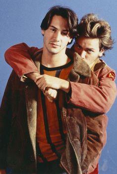 """Keanu Reeves y River Phoenix en """"Mi Idaho Privado"""", 1991"""