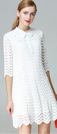 Elegant White Ripple Lace Patchwork Bow Trim Hollow Sleeve A-Line Mini Dress