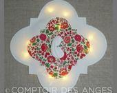 Veilleuse croix , fond partiel en tissu liberty d'Anjo et Vierge à l'enfant : Luminaires par comptoir-des-anges