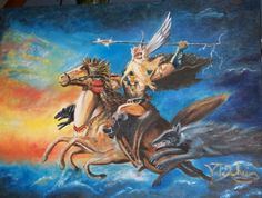 Painting of  viking and   mythical horse