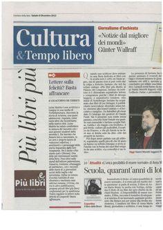 """Gioacchino De Chirico sul «Corriere della Sera» consiglia di """"tenerci d'occhio"""" e di spedire le lettere sulla felicità di Leopardi """"con pieno spargimento di cuore""""."""