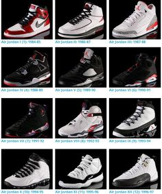 Air Jordans 1-12 are my favs, especially I, IIi, IV, VI, IX, XI, XII