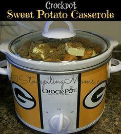 Crockpot Sweet Potato Casserole is perfect for holidays or Sunday dinner! #crockpot #slowcooker