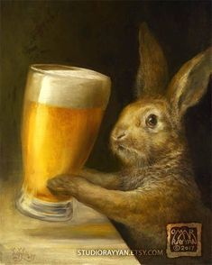 Bunny with Beer (print) bar decor rabbit brewery illustration artwork Omar Rayyan, Lapin Art, Rabbit Art, Bunny Rabbit, Bunny Art, Legolas, Oeuvre D'art, Fantasy Art, Cute Animals