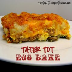 Amy's Cooking Adventures: Tater Tot Egg Bake. Tried this using sweet potato  tater tots, spicy Italian sausage, kale, and mozzarella. Oh and added shallots (was trying to use some of our CSA stuff we hadn't used yet).
