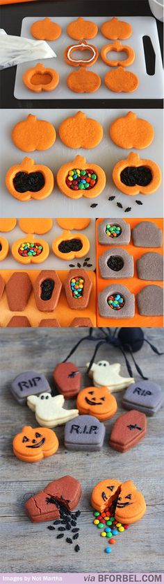 Trick-Or-Treat Cookies, Break Them Open to Get the Candy Break-Open Halloween Cookies Use different cookie cutters/sprinkles to make this for any holiday!Break-Open Halloween Cookies Use different cookie cutters/sprinkles to make this for any holiday! Halloween Desserts, Halloween Cookies, Biscuits Halloween, Postres Halloween, Holidays Halloween, Halloween Treats, Halloween Fruit, Happy Halloween, Halloween Decorations