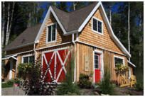 The Ashokan Barn was designed as a garage and workshop in the Catskill mountains. This builder used the basic structure to create this beautiful little gift shop. The original Plans are for sale at BackroadHome.net for $35.00