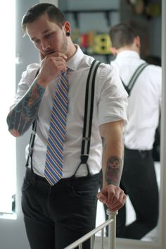 """In button-down shirts, bow ties, English-major specs, suspenders, and covered in tats, Bobby tells us, """"In a culture . . ."""