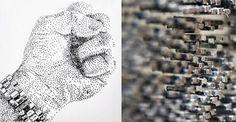 As obras esculturais da artista britânicoMarcus Levinepromovem um pontilhismo físico, cada um composto de milhares de pregos martelados em painéis de madeira.