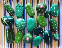 A Crafting with Sammy B Painted Rocks Cactus Patterns experience project by Yaymaker Cactus Painting, Pebble Painting, Pebble Art, Painted Rock Cactus, Painted Rocks Craft, Rock Painting Patterns, Rock Painting Designs, Rock Crafts, Arts And Crafts