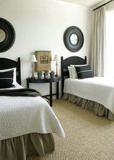 TidbitsTwine Guest Bedroom Inspiration 8 Guest Bedroom Inspiration Amazing Twin Bed Rooms} would love to do this in an extra room for mattie! Guest Bedroom Inspiration, Guest Bedrooms, Twin Beds Guest Room, Spare Bedroom, Twin Bedroom, Black Headboard, Bedroom Inspirations, Eclectic Bedroom, Bedroom