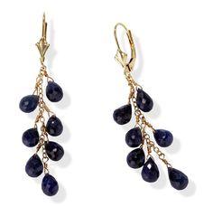 Briolette Sapphire Drops from 14k Gold Leverback Earrings