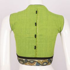 Buy online Handcrafted Green Cotton Blouse With Sleeveless & Collar Neck 10013283 - Size 36 Saree Jacket Designs, Saree Blouse Neck Designs, Fancy Blouse Designs, Stylish Blouse Design, Designer Blouse Patterns, Collor, Couture, Indian Designer Wear, Green Cotton